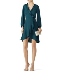 Amanda Uprichard Teal Ruffle Wrap Dress Sz S